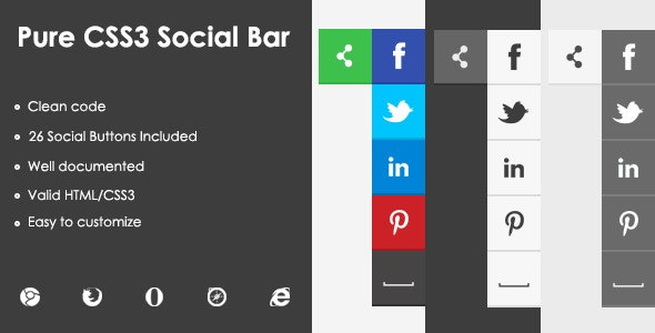 Pure CSS3 Social Bar - CodeCanyon Item for Sale