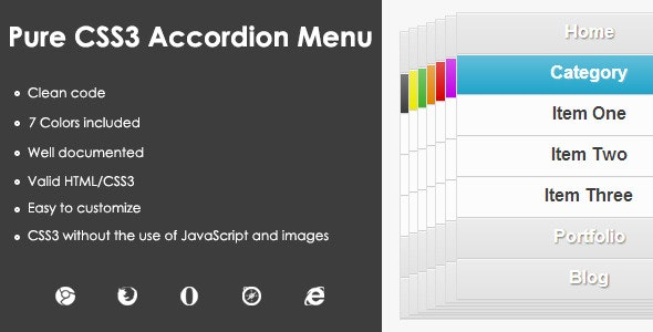Pure CSS3 Accordion Menu - CodeCanyon Item for Sale