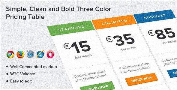 Simple, Clean and Bold Three Color Pricing Table - CodeCanyon Item for Sale