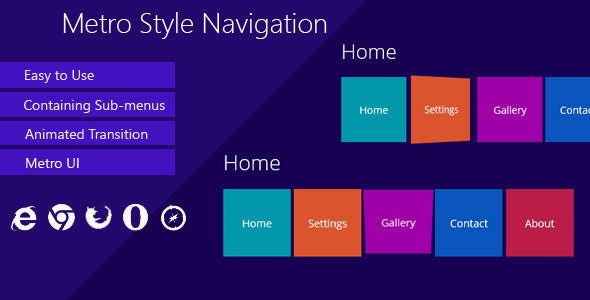 Metro Style Navigation - CodeCanyon Item for Sale