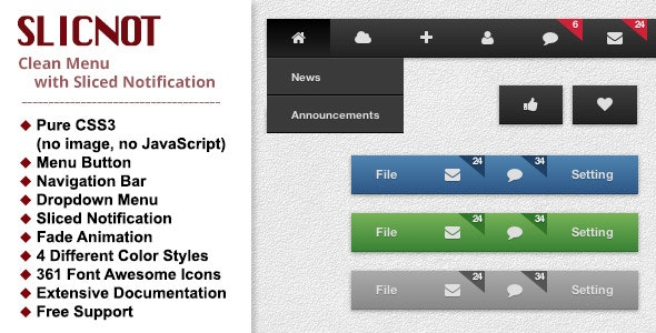 Slicnot - Clean CSS Menu with Sliced Notification - CodeCanyon Item for Sale