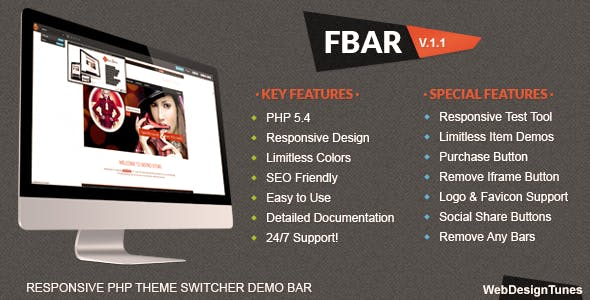 FBar - Responsive PHP Theme Switcher Demo Bar