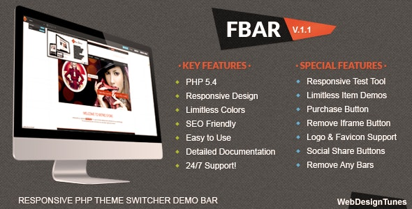 FBar - Responsive PHP Theme Switcher Demo Bar - CodeCanyon Item for Sale