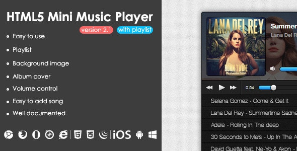 HTML5 Mini Music Player With Playlist - CodeCanyon Item for Sale