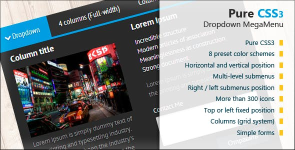 Pure CSS3 Dropdown MegaMenu