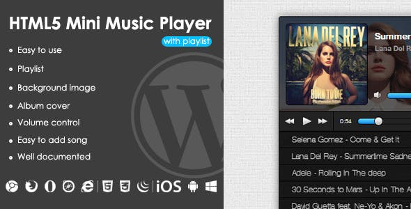 HTML5 Mini Music Player With Playlist - WP Plugin