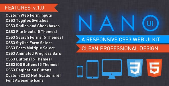 NANO UI - CSS3 Web Elements UI Kit