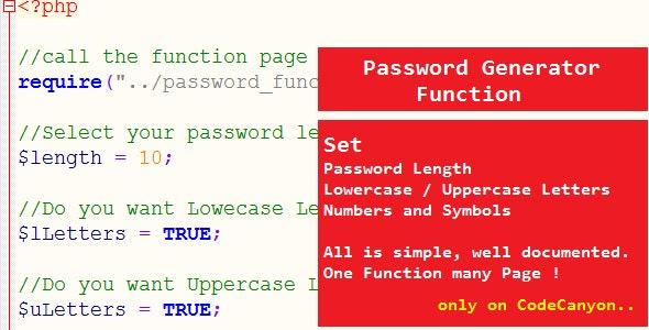 Password Generator Function - CodeCanyon Item for Sale