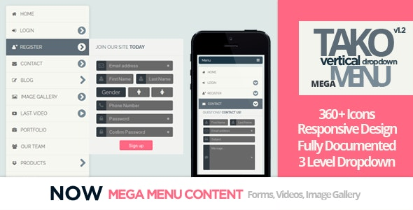 TAKO Vertical Responsive Dropdown Menu - CodeCanyon Item for Sale