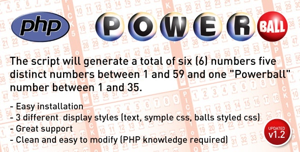 Powerball Lottery Number Generator - CodeCanyon Item for Sale