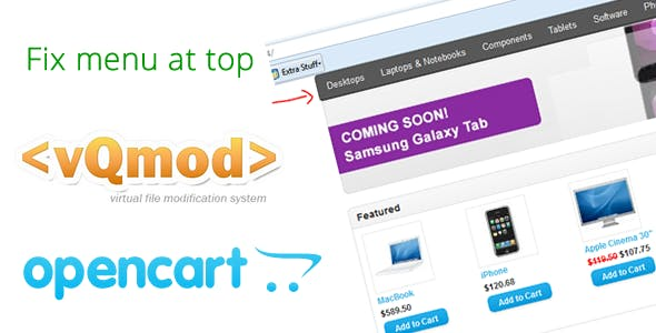 Opencart fix menu bar to top Vqmod
