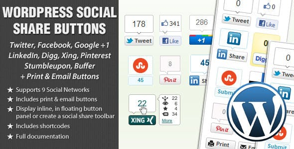 WordPress Social Share Buttons        Nulled