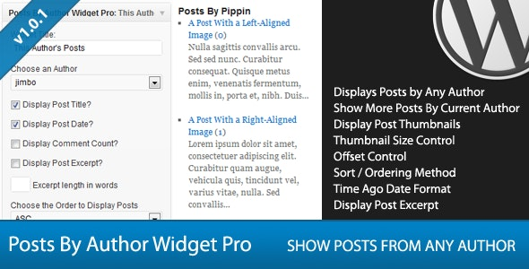 Posts By Author Widget Pro for WordPress - CodeCanyon Item for Sale