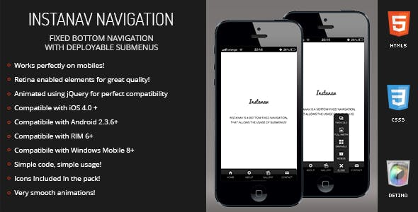 Instanav | Bottom Navigation for Mobiles & Tablets