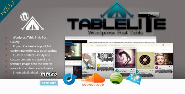 TableLite Wordpress Post Media Gallery - CodeCanyon Item for Sale
