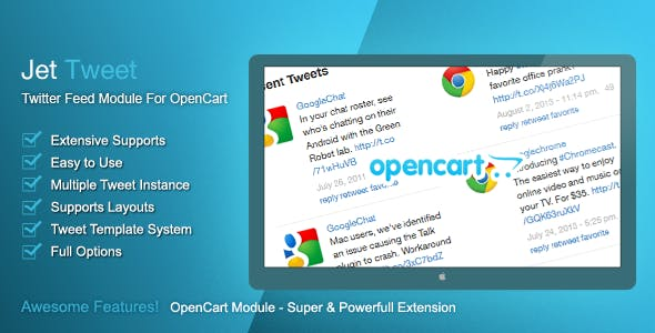 Jet Tweet - Twitter Feed Module For OpenCart