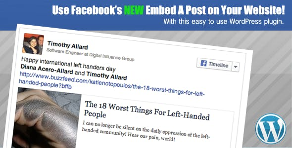 Facebook Embedded Posts WordPress Shortcode
