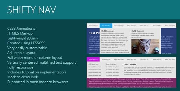 Shifty Nav - a Fully Responsive JS CSS3 Mega Menu