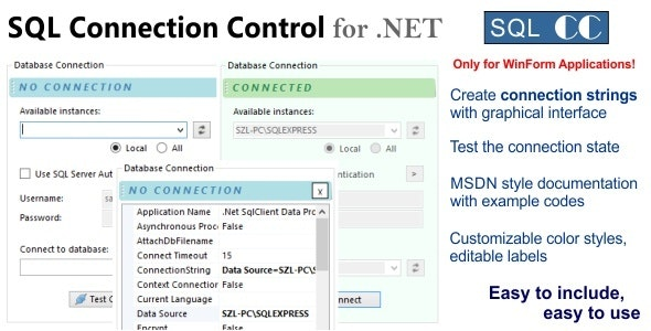 SQL Connection Control for .NET - CodeCanyon Item for Sale