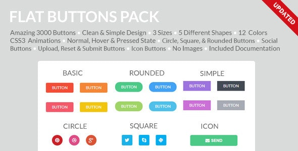 Flat Buttons Pack - CodeCanyon Item for Sale