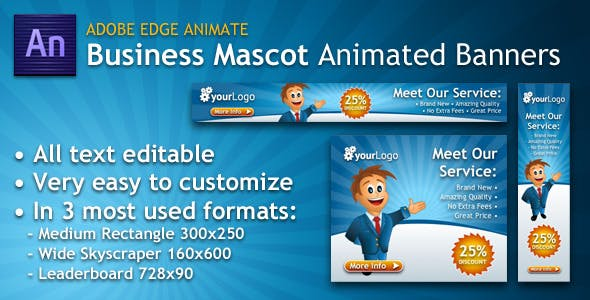 Business Mascot Animated Banner