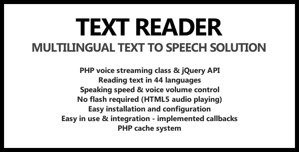 Text Reader - Text To Speech for jQuery - CodeCanyon Item for Sale