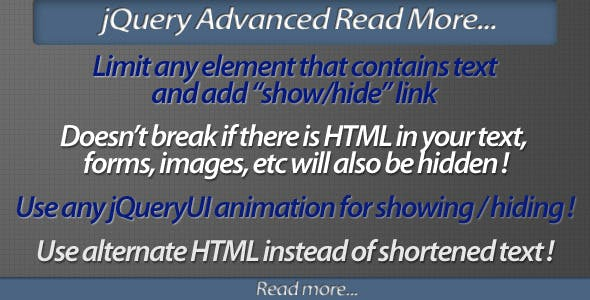 jQuery Advanced Read More plugin