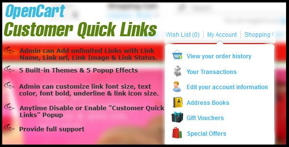 opencart customer quick links