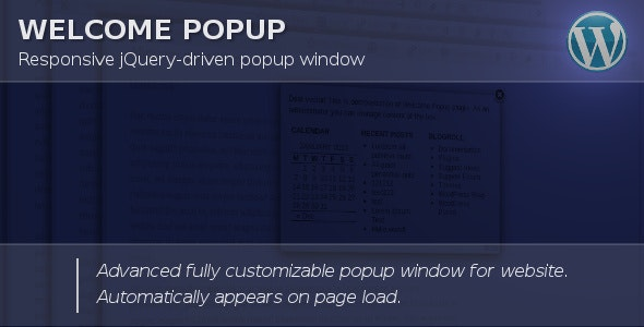 Welcome Popup for WordPress - CodeCanyon Item for Sale