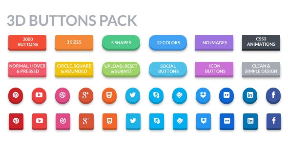 3D Buttons Pack - CodeCanyon Item for Sale