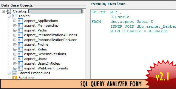 SQL Query Analyzer Form - CodeCanyon Item for Sale