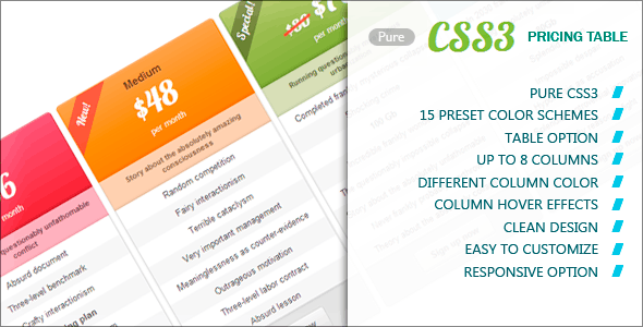 Pure CSS3 Pricing Table - CodeCanyon Item for Sale