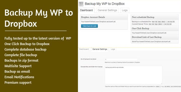 Backup My WP to Dropbox - CodeCanyon Item for Sale