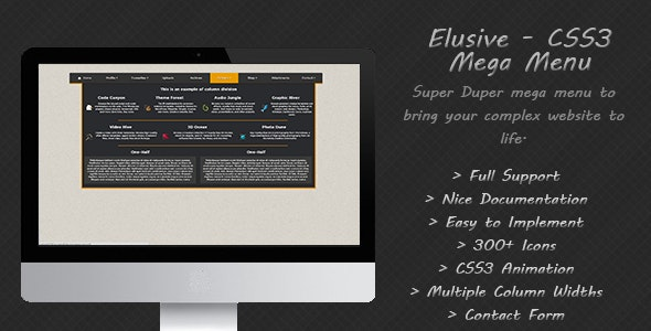 Elusive CSS3 Mega Menu - CodeCanyon Item for Sale