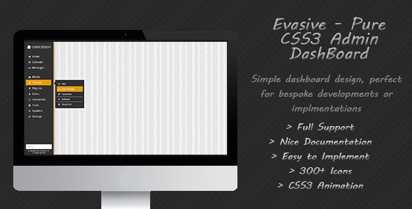 Evasive - Pure Flat CSS3 Admin Dashboard - CodeCanyon Item for Sale