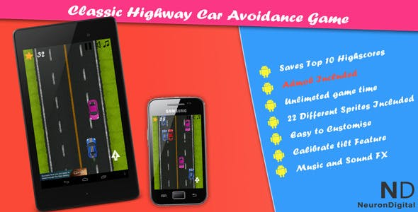 Classic Highway Car Avoidance Game