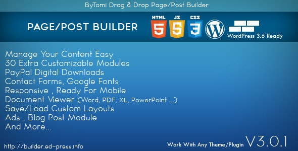 WordPress Drag & Drop Page/Post Builder - CodeCanyon Item for Sale