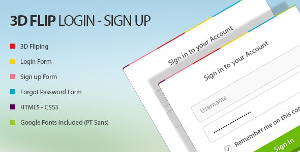 3D Flip Log in Sign up - CodeCanyon Item for Sale