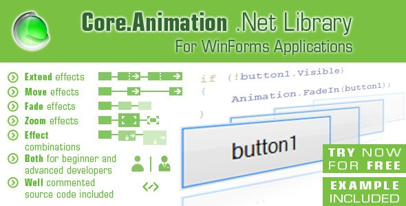 Core.Animation Library for .Net WinForms Controls - CodeCanyon Item for Sale