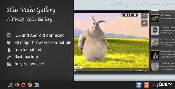 HTML5 Blue Video Player with Playlist / Gallery - CodeCanyon Item for Sale