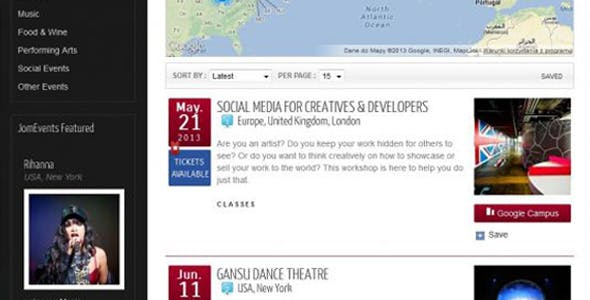Events Ajax Search Mod For Joomla - JomEvents