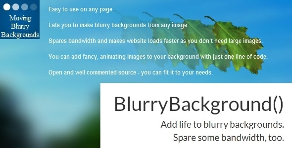 Moving Blurry Background for JavaScript and jQuery - CodeCanyon Item for Sale