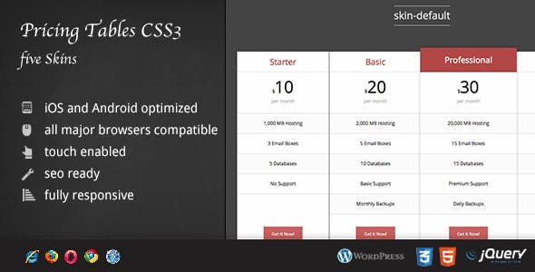 CSS Pricing Tables Five Skins DZS