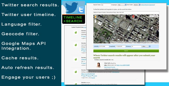 PHP Twitter User Timeline & Search Plugin