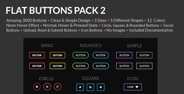 Flat Buttons Pack 2 - CodeCanyon Item for Sale