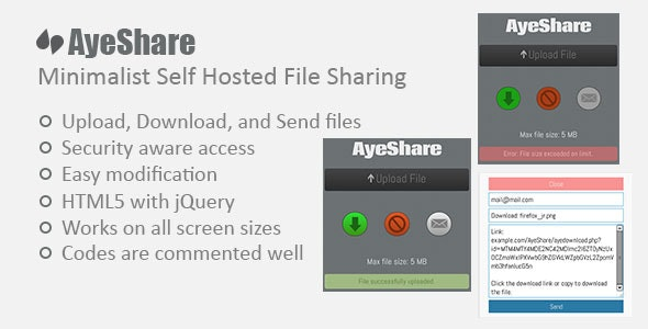 AyeShare - Minimalist Self Hosted File Sharing - CodeCanyon Item for Sale