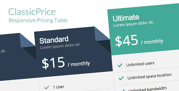 ClassicPrice - Responsive Pricing Table - CodeCanyon Item for Sale
