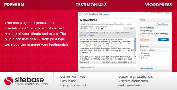 Testimonials for WordPress