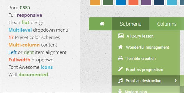 Wonderful CSS3 Responsive Flat Menu