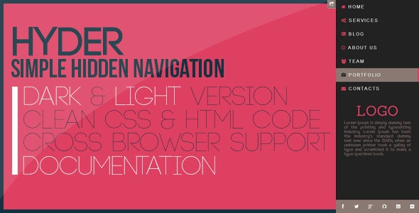Hyder - Simple Hidden Navigation - CodeCanyon Item for Sale